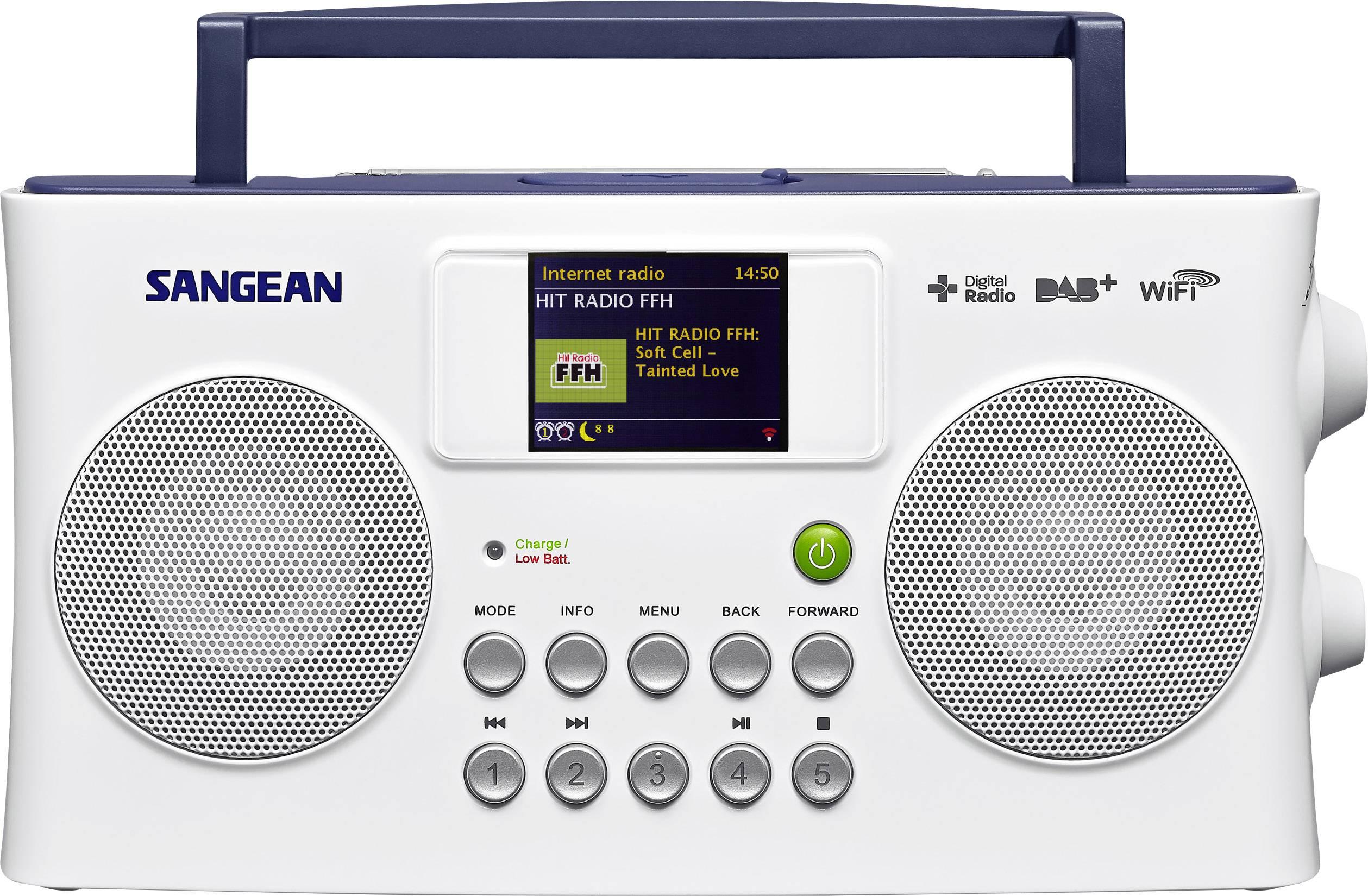 Internetové, DAB+, FM prenosné rádio Sangean SIR-300, Wi-Fi, biela