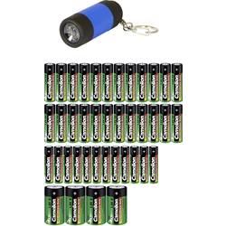 Zinko-uhlíková sada baterií Camelion AAA, AA, C vč. kapesní svítilny, 20 ks