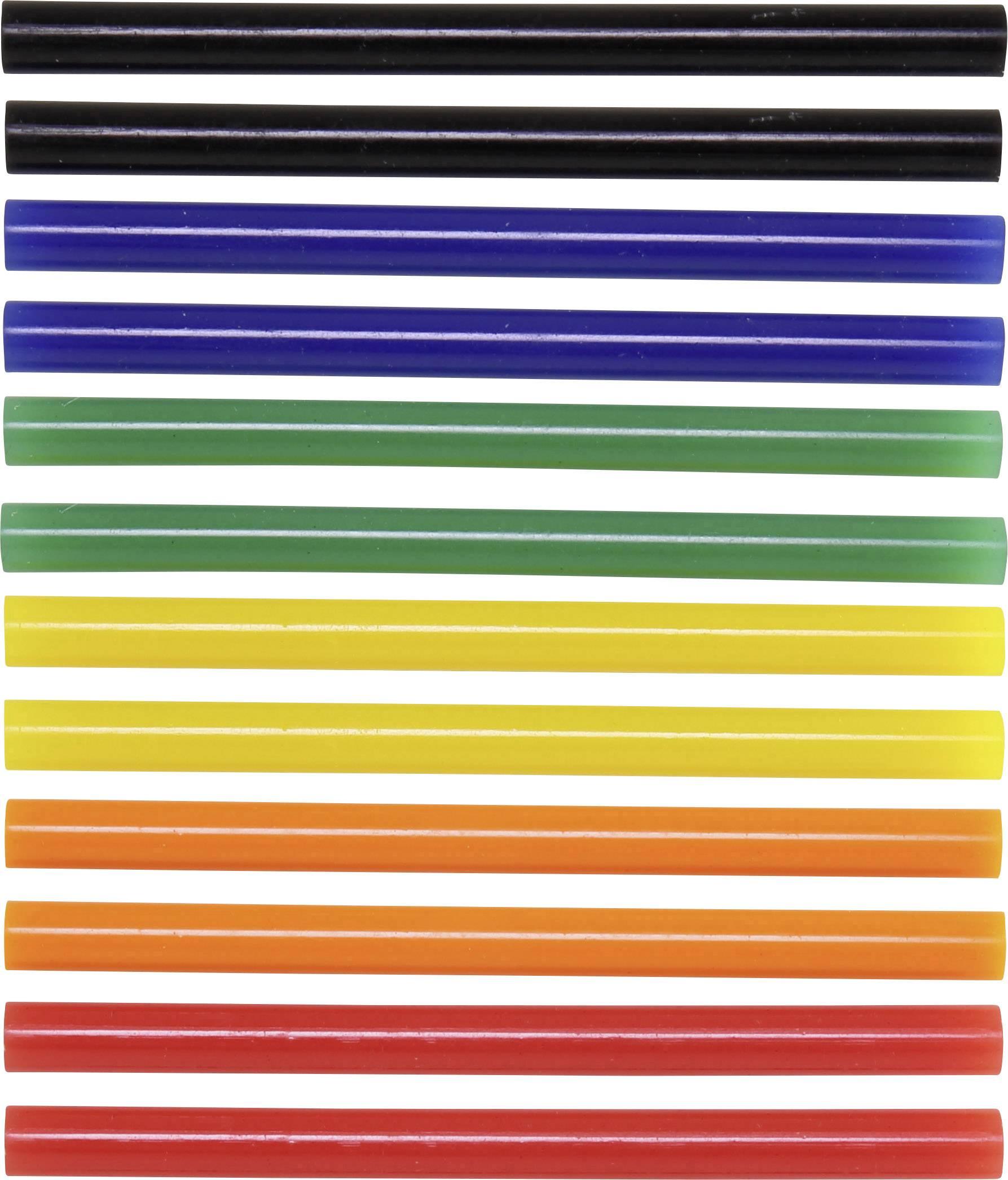 Lepiace tyčinky TOOLCRAFT TC-7200X12C 1553629, Ø 7 mm, délka 100 mm, 12 ks, modrá, červená, zelená, žltá