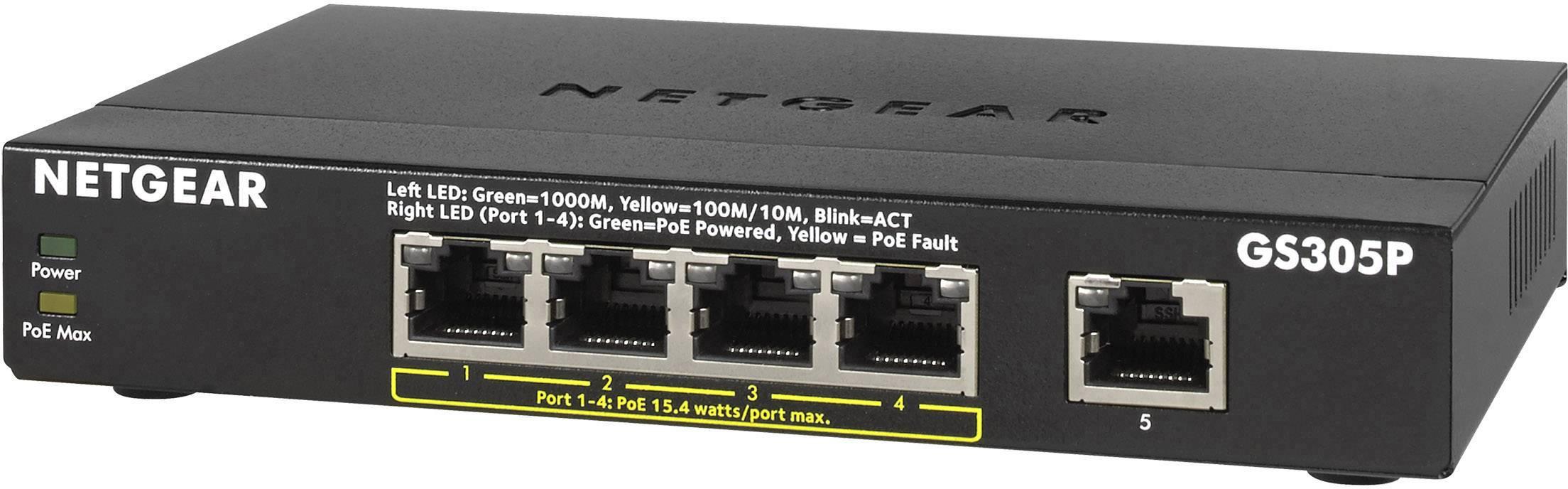 Síťový switch NETGEAR, GS305P-100PES, 5 portů, 1 Gbit/s, funkce PoE