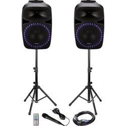 Sada aktivních PA reproduktorů Ibiza Sound PKG12A Bluetooth, vč. mikrofonu, vestavěné světelné efekty