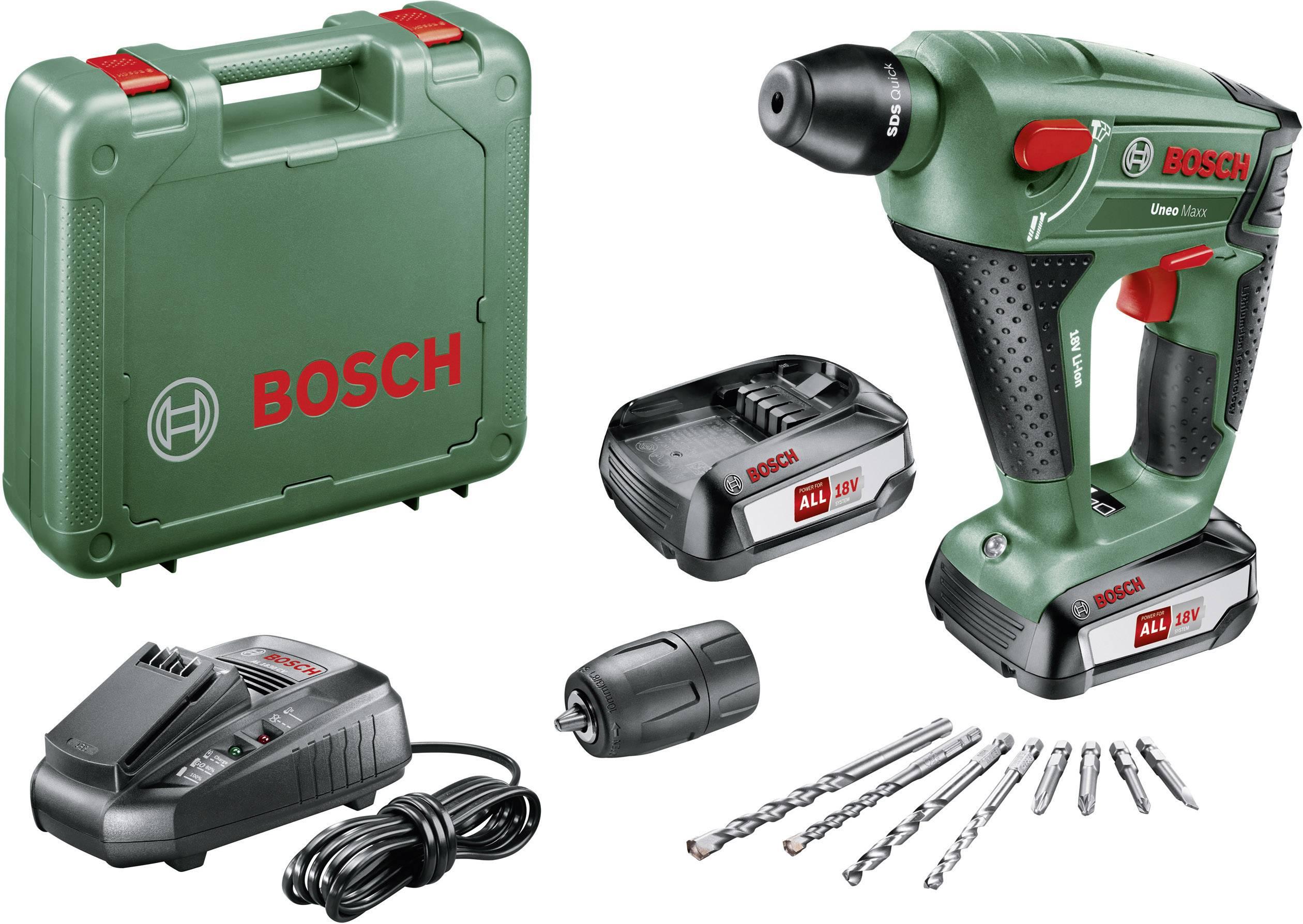 Bosch Home and Garden Uneo Maxx SDS quick-aku kladivo 18 V 2.5 Ah Li-Ion akumulátor 2 akumulátory, kufřík