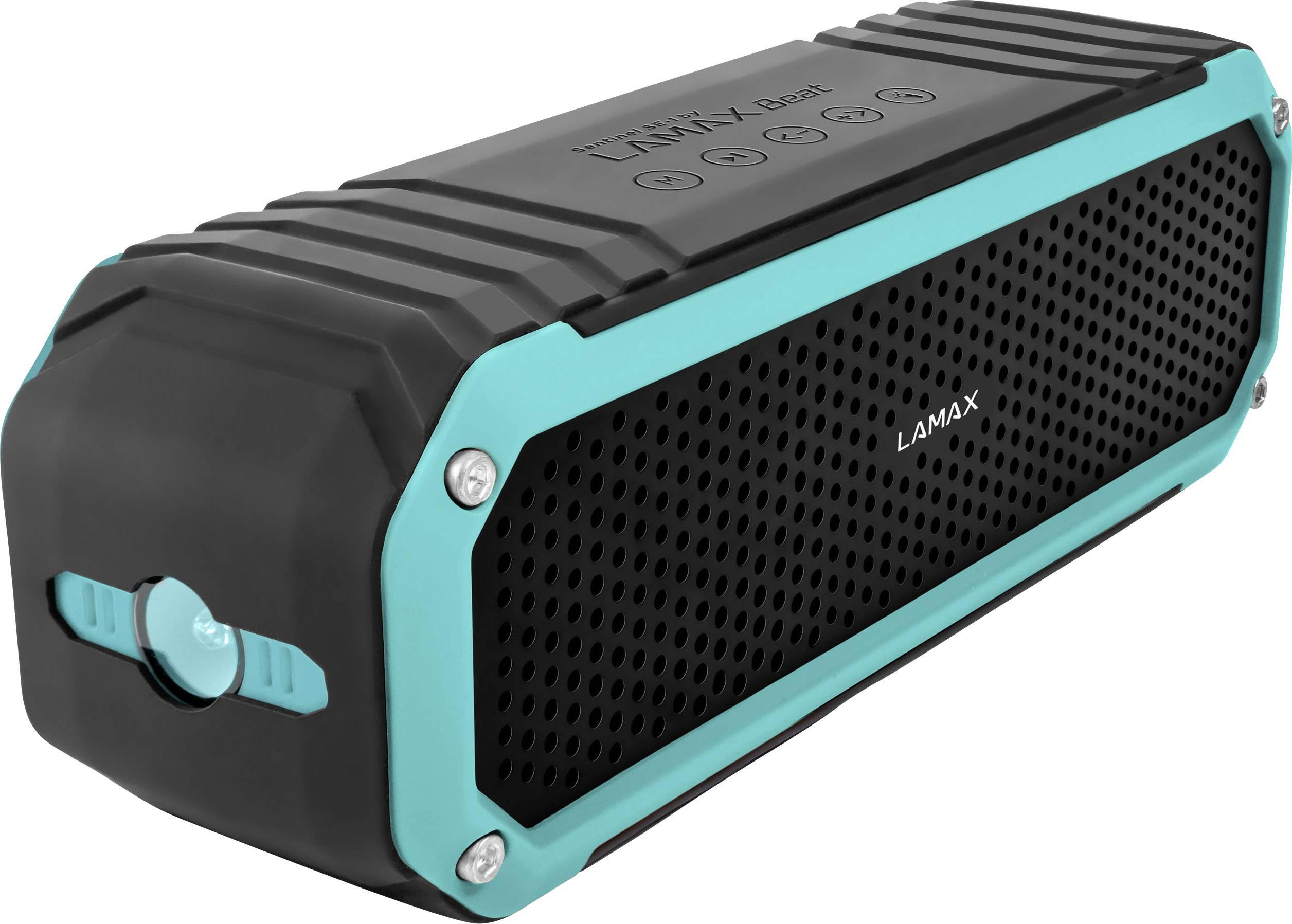 Bluetooth® reproduktor Lamax Sentinel SE-1 FM rádio, odolná/ý striekajúcej vode, prachotesný, hlasitý odposluch, čierna, tyrkysová