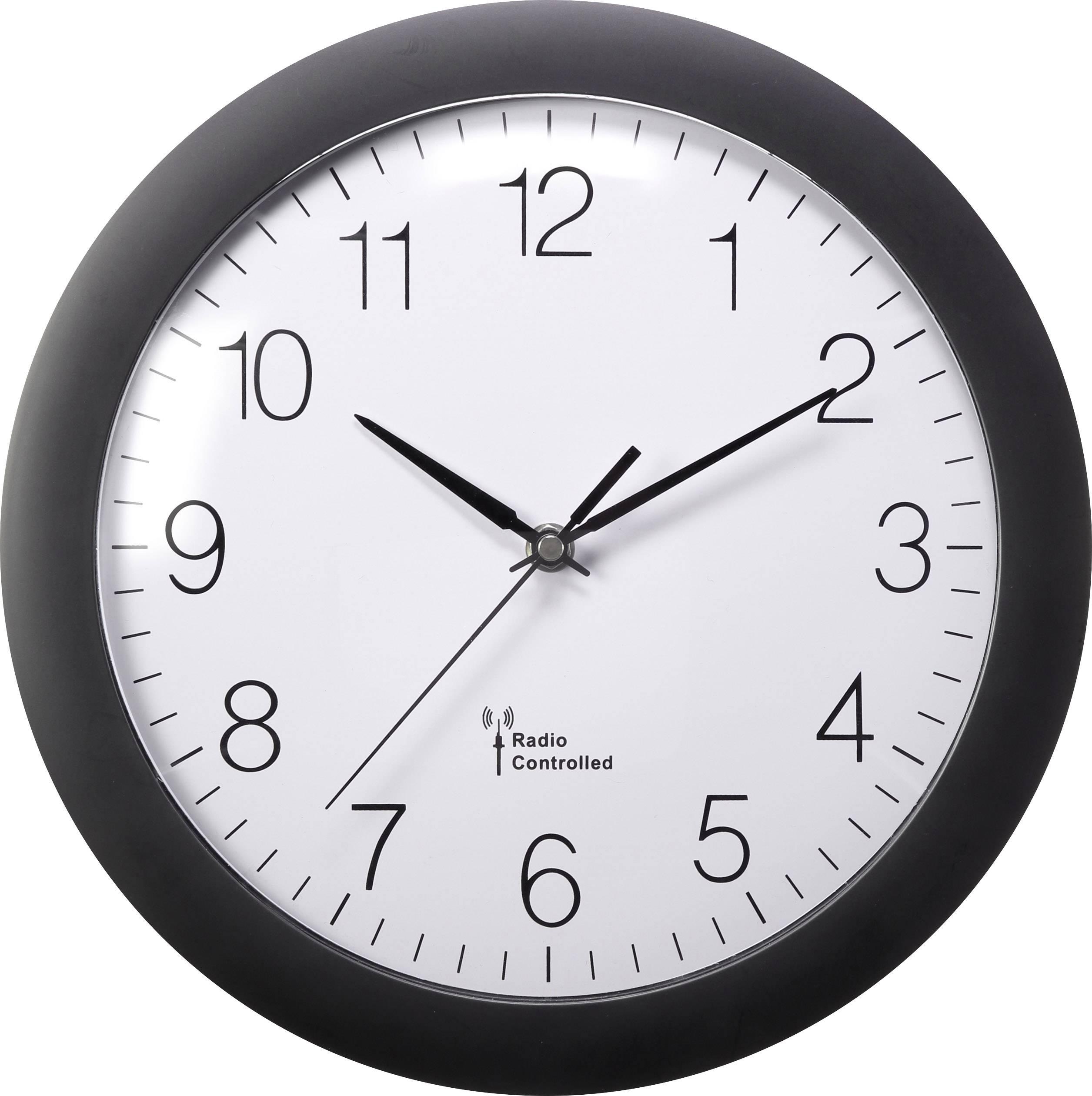 DCF nástenné hodiny Basetech vonkajší Ø 300 mm, čierna
