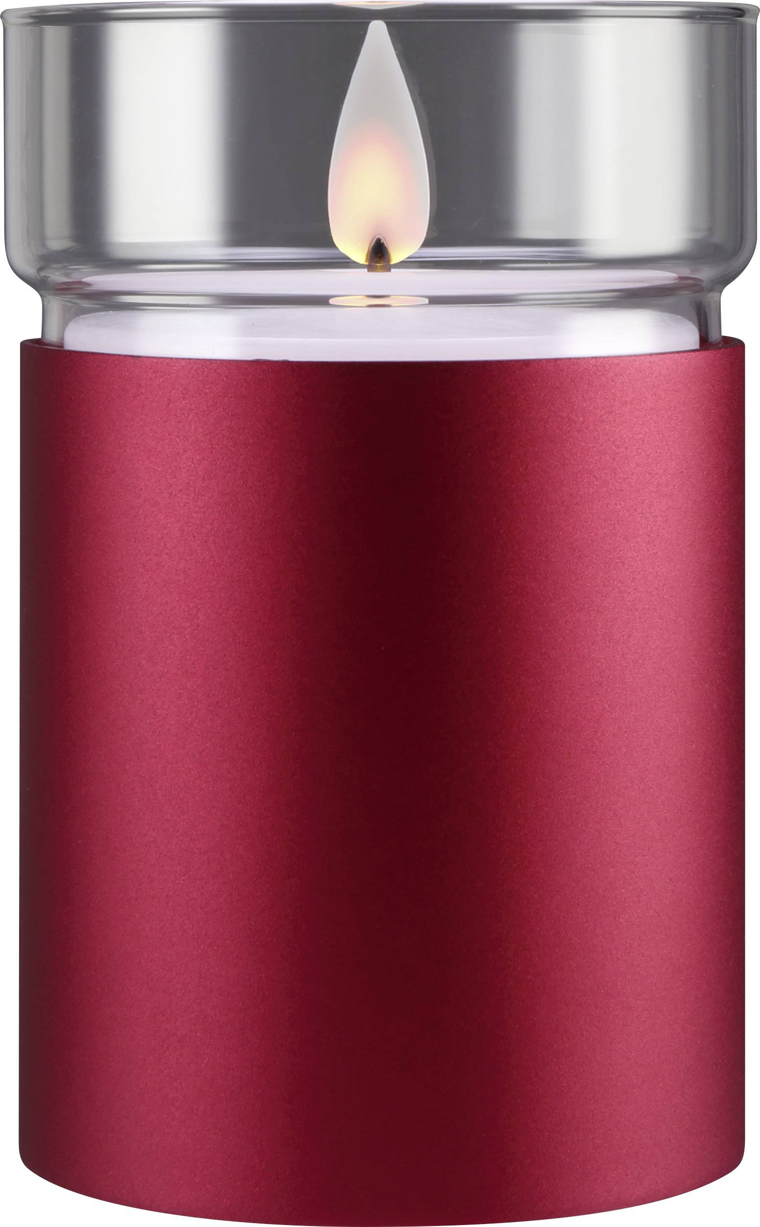 LED vosková svíčka Polarlite (Ø x v) 80 mm x 120 mm, vínově červená, teplá bílá