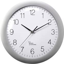 DCF nástěnné hodiny Basetech 1556546, vnější Ø 300 mm, stříbrná