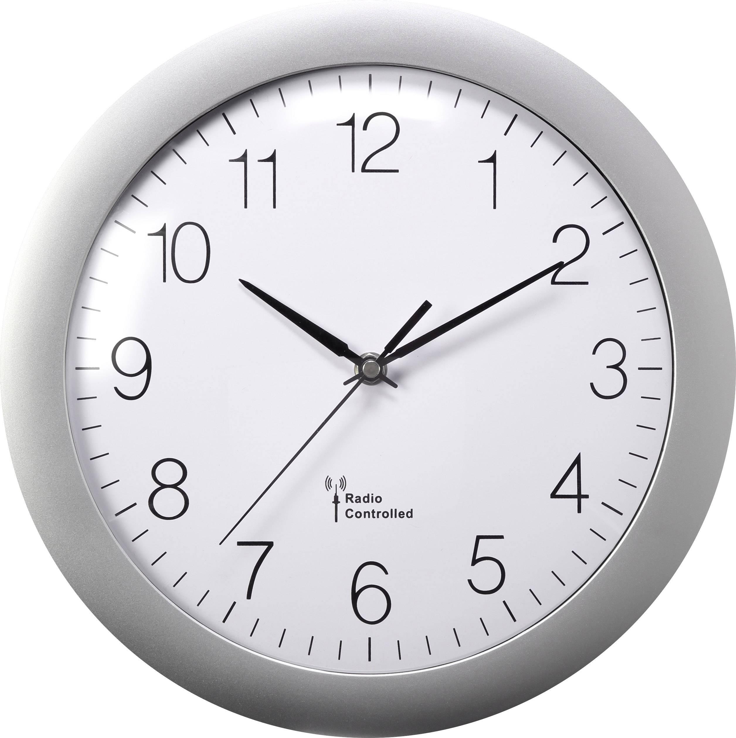 DCF nástenné hodiny Basetech 300 mm, strieborná