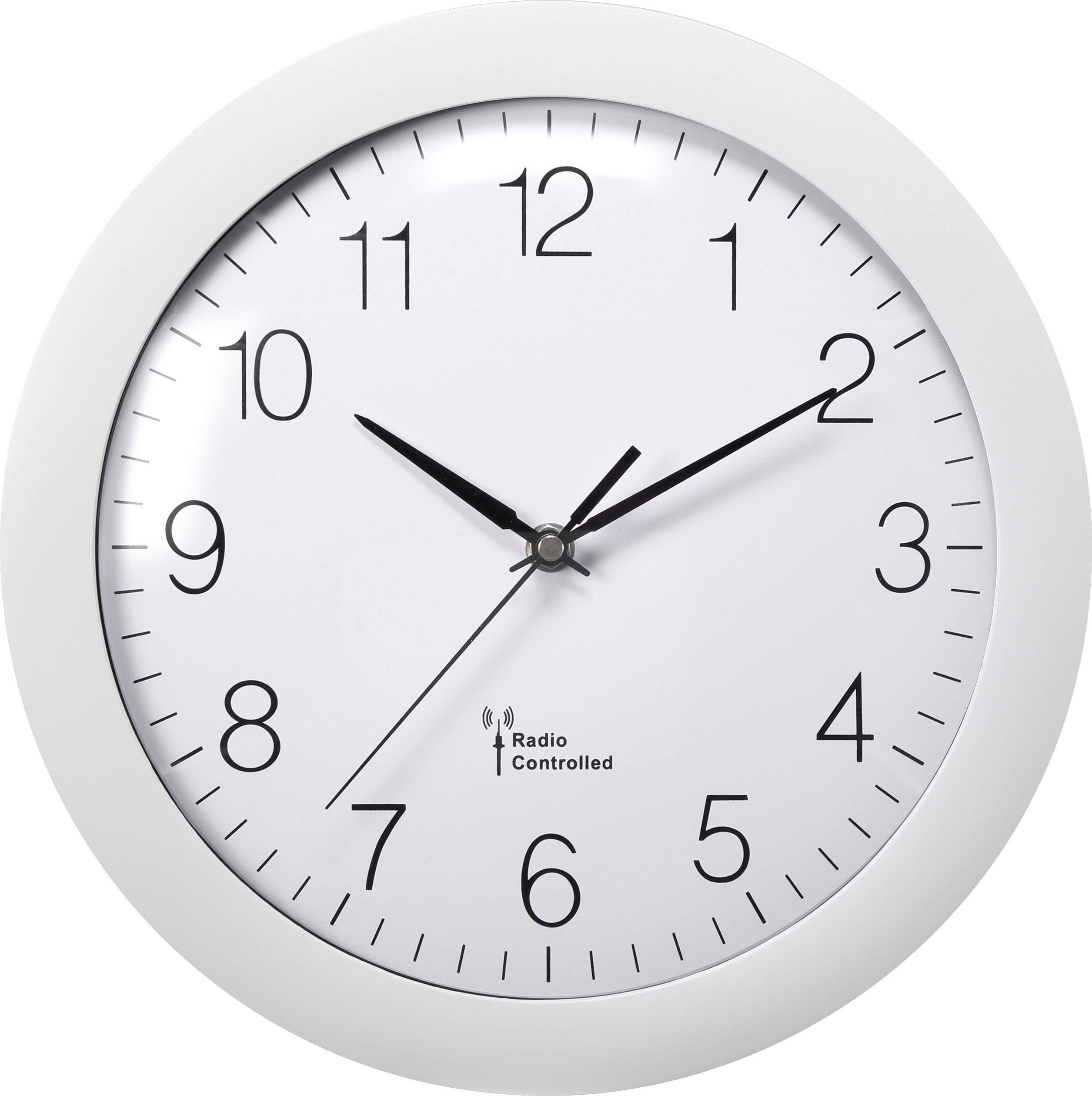 DCF nástenné hodiny Basetech 300 mm, biela