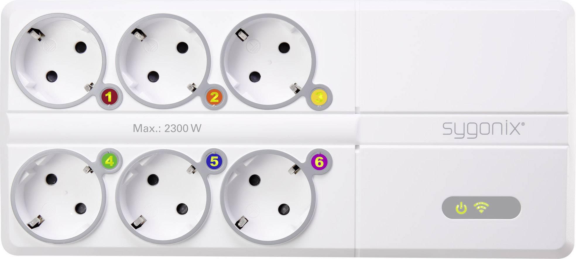Inteligentná predlžovačka s Wi-Fi Sygonix CC1, počet zásuviek 6 + USB nabíjačka, 1.80 m, biela
