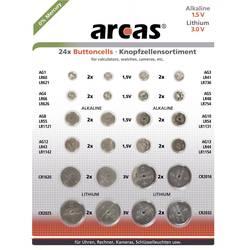 Arcas sada knoflíkových baterií knoflíkové, 24 ks