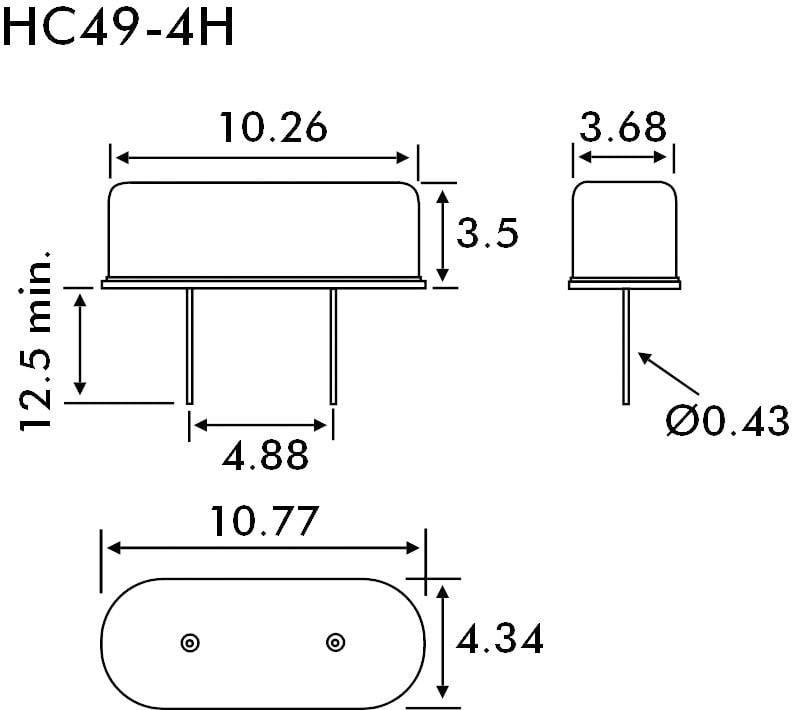 Krystal EuroQuartz, 12 MHz, HC49/4H, 30/50/40/18PF/ATF