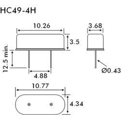 Krystal EuroQuartz, 16 MHz, HC49/4H, 30/50/40/18PF/ATF