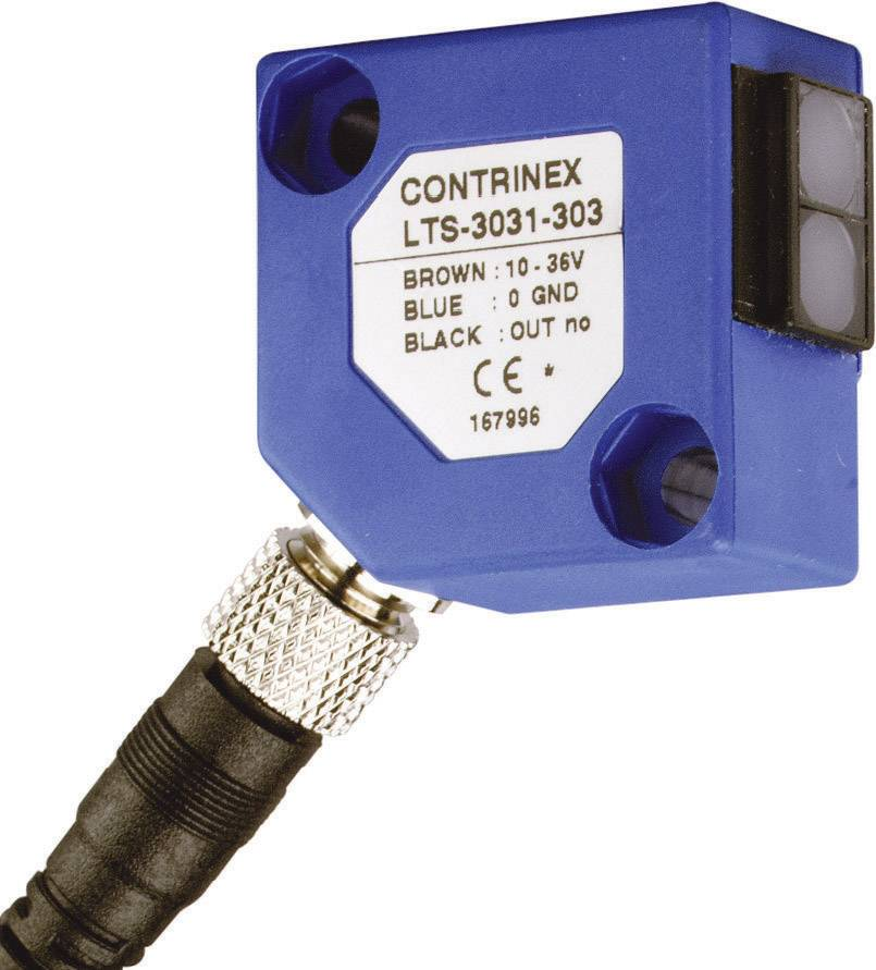 Reflexní optický snímač Contrinex LTS-3031-303, dosah 600 mm, konektor M8 3pol.