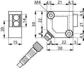 Reflexná optická závora CONTRINEX LRS-3031-304, dosah 2000 mm, konektor M8 3pol.