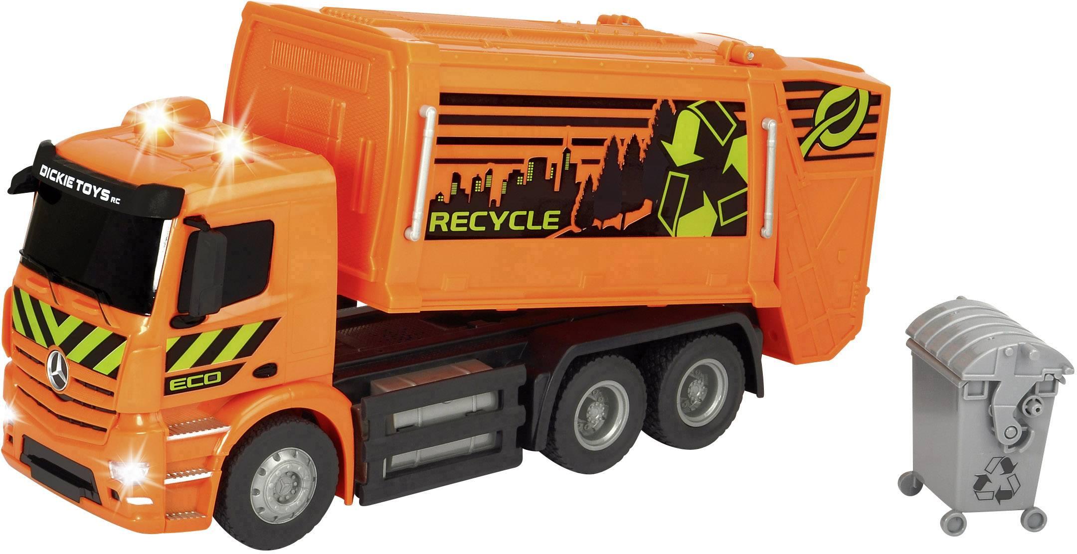 RC funkční model – popelářský vůz Dickie Toys 201119084 RC Mercedes-Benz Antos Garbage Truck, RTR
