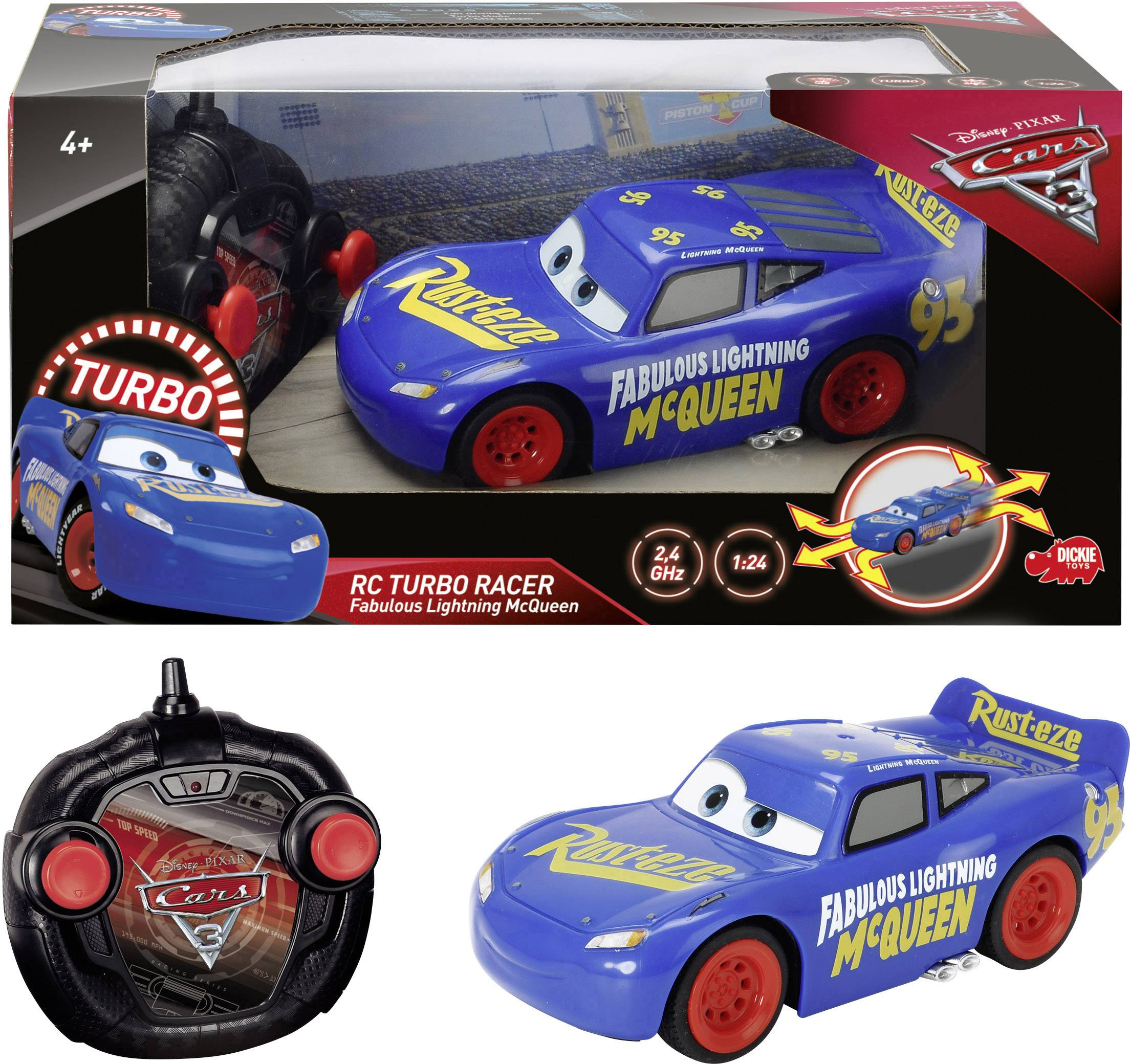 RC silniční model Auta 3 Dickie Toys RC Cars 3 Fabulous Turbo Racer LMQ 203084009