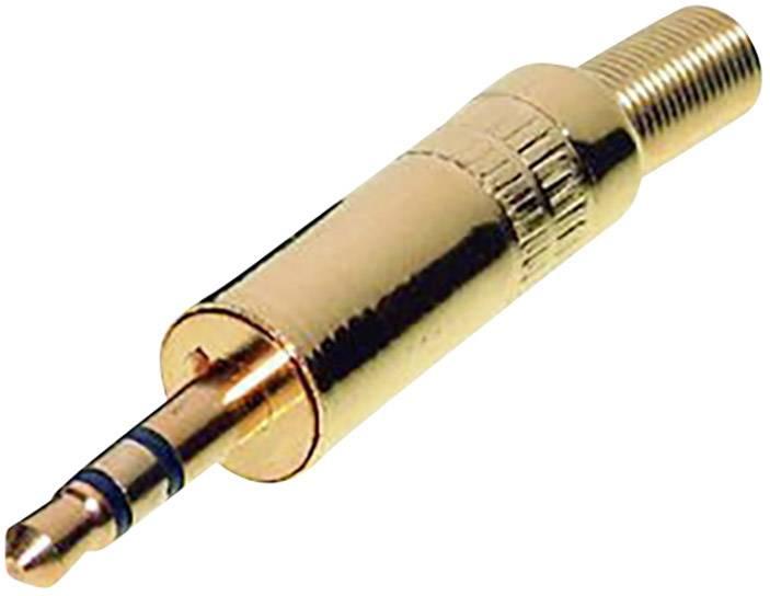 Jack konektor 3.5 mm stereo zástrčka, rovná TRU COMPONENTS 3, zlatá, 1 ks