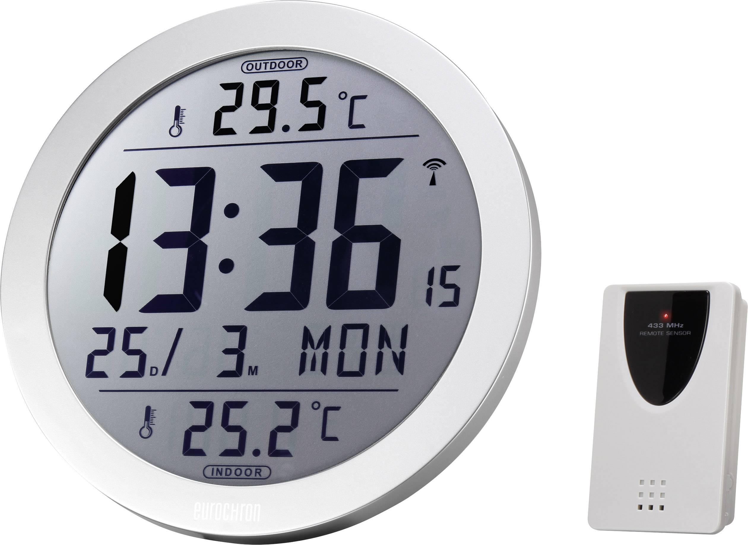 DCF nástenné hodiny Eurochron EFW 4001 EFW 4001, vonkajší Ø 210 mm, strieborná