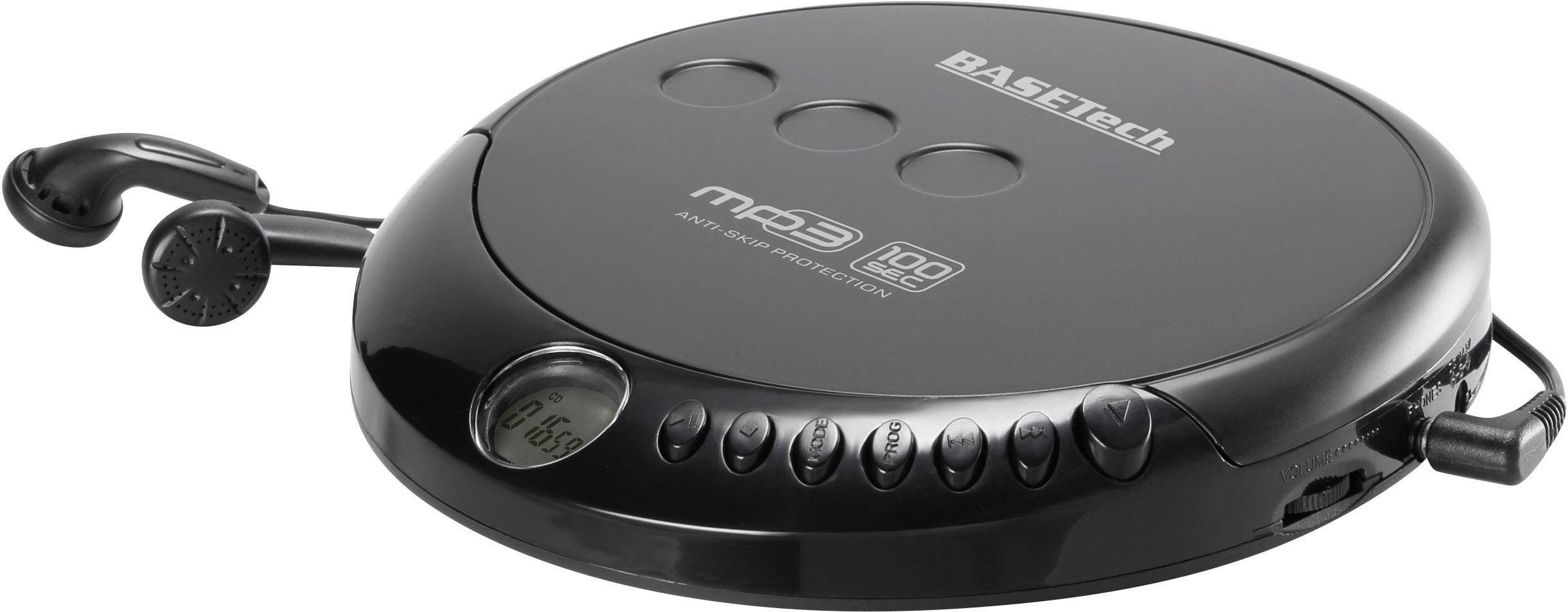 Prenosný CD prehrávač - diskman Basetech MPCD-122C, CD, CD-R, CD-RW, MP3, čierna
