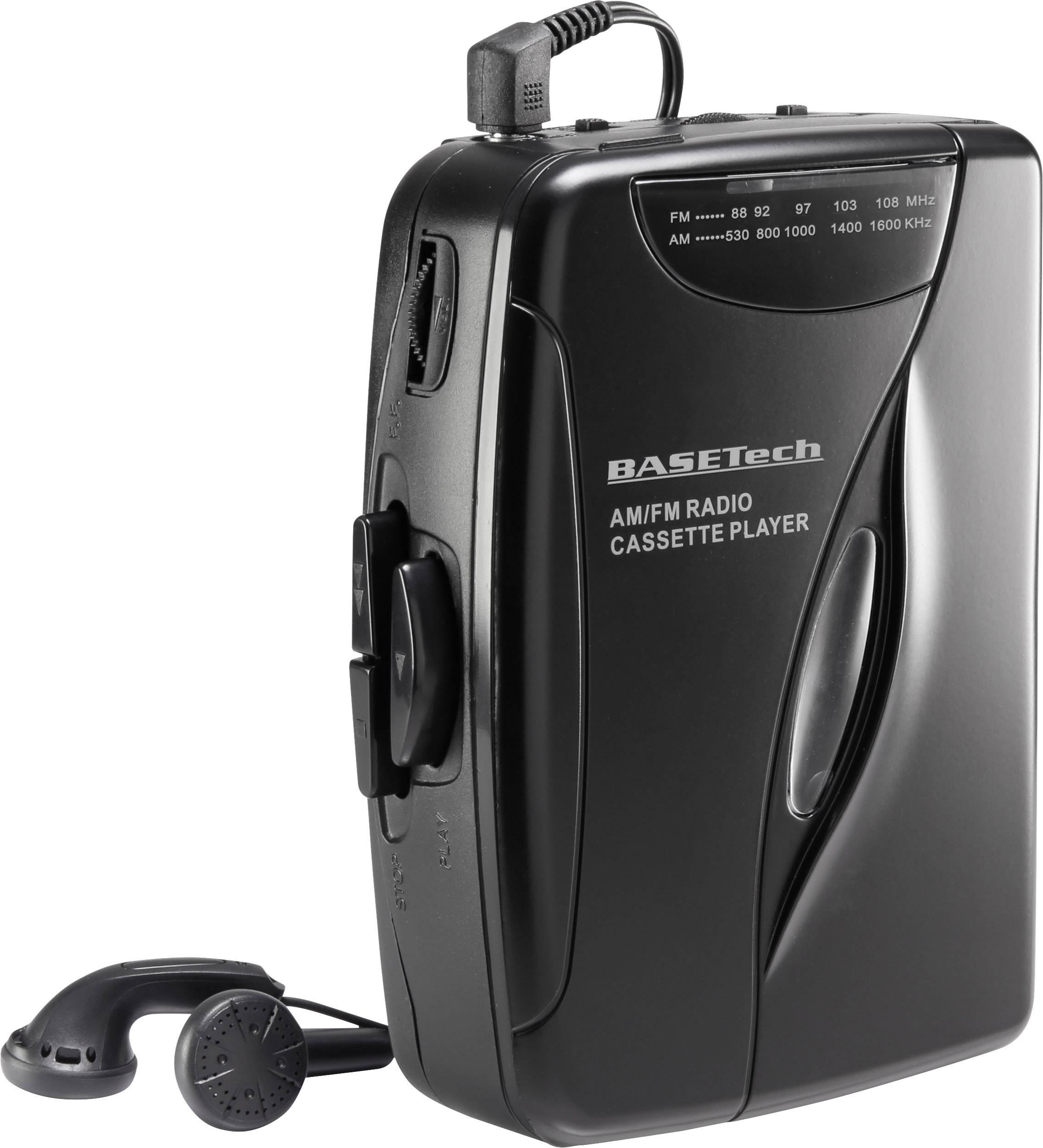 Walkman - přenosný přehrávač kazet s FM rádiem, Basetech KW-118C, černá
