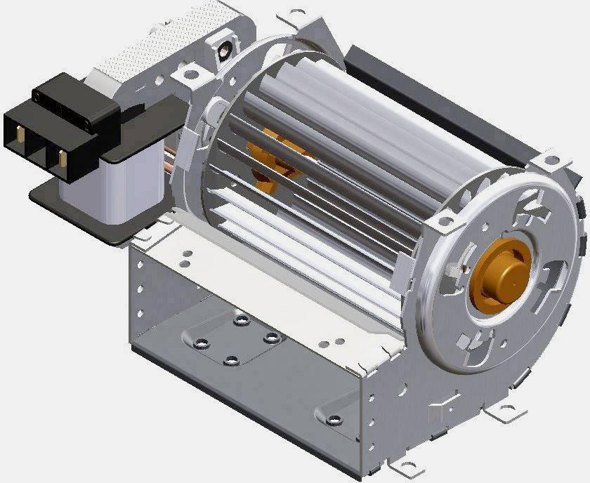 Tangenciání ventilátor motor vpravo 230 V/AC Trial TAS09B-004-00