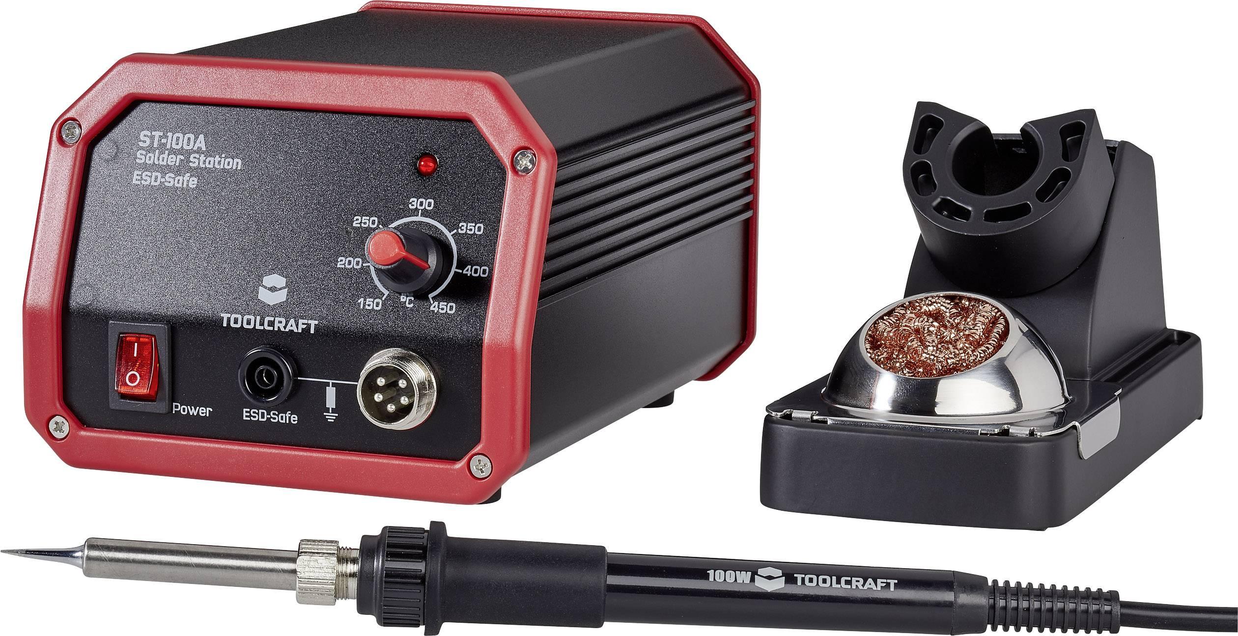 Pájecí stanice TOOLCRAFT ST-100A 1561693, analogový, 100 W, 150 až 450 °C, + pájecí hrot