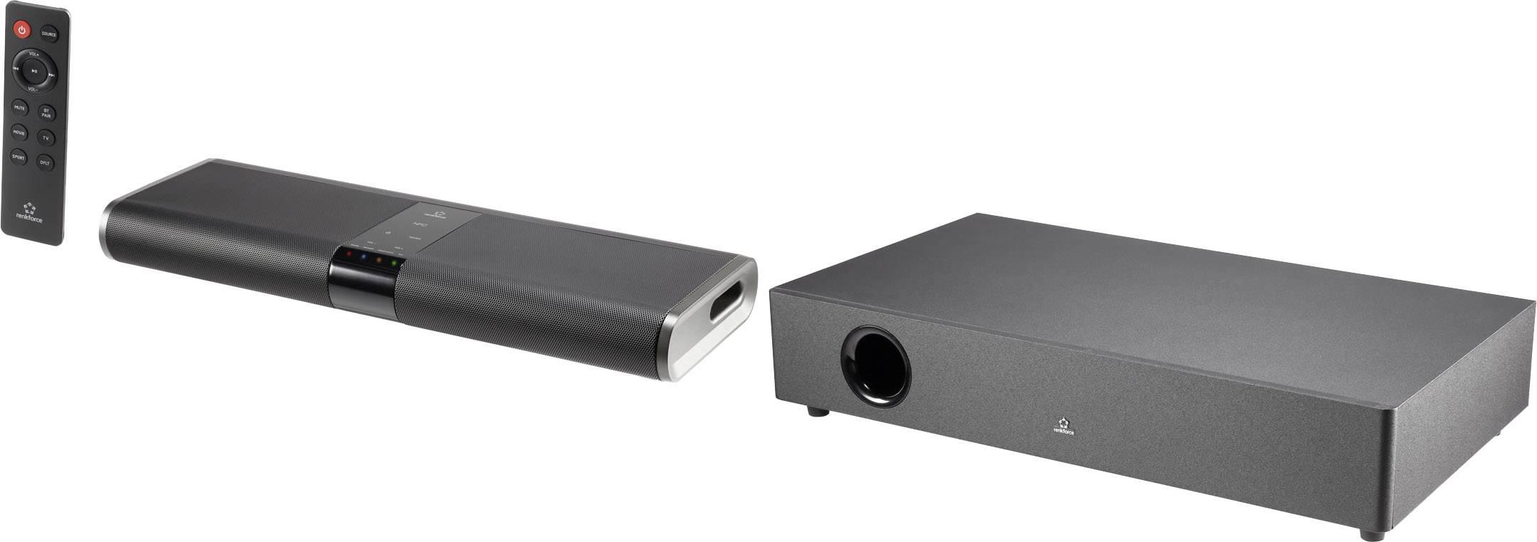 Soundbar Renkforce RF-TB240WW vr. bezdrôtového subwooferu, Bluetooth®, NFC, čierna