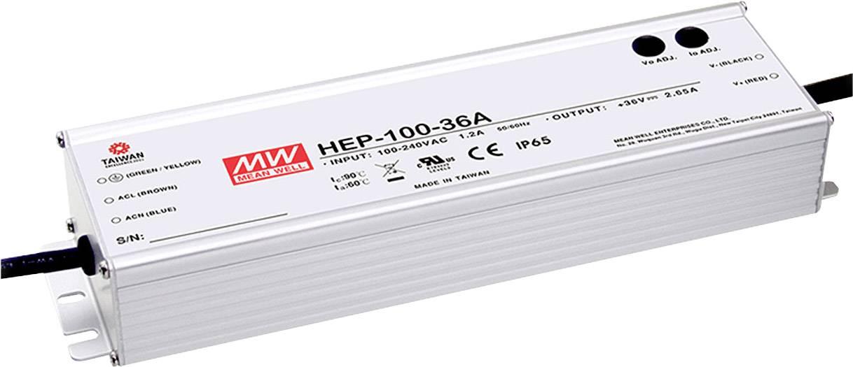AC/DC vestavný zdroj Mean Well HEP-100-48A, 48 V/DC, 2000 mA, 100 W, otevřené konce kabelu