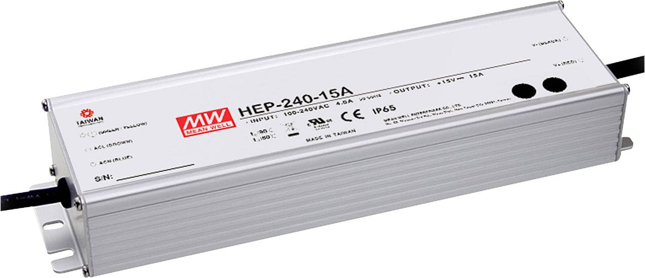 AC/DC vestavný zdroj Mean Well HEP-240-24A, 24 V/DC, 10000 mA, 240 W, otevřené konce kabelu