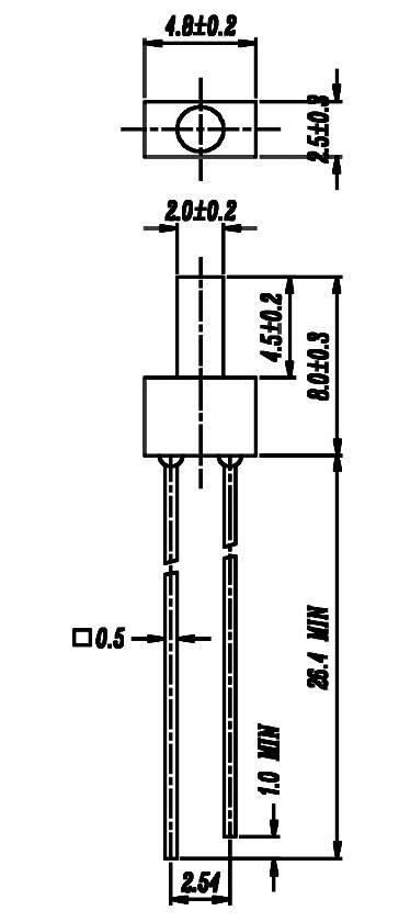 LEDsvývodmi Everlight Opto 103UYD/S530-A3, 103YD, typ šošovky valcový, 2 mm, žltá