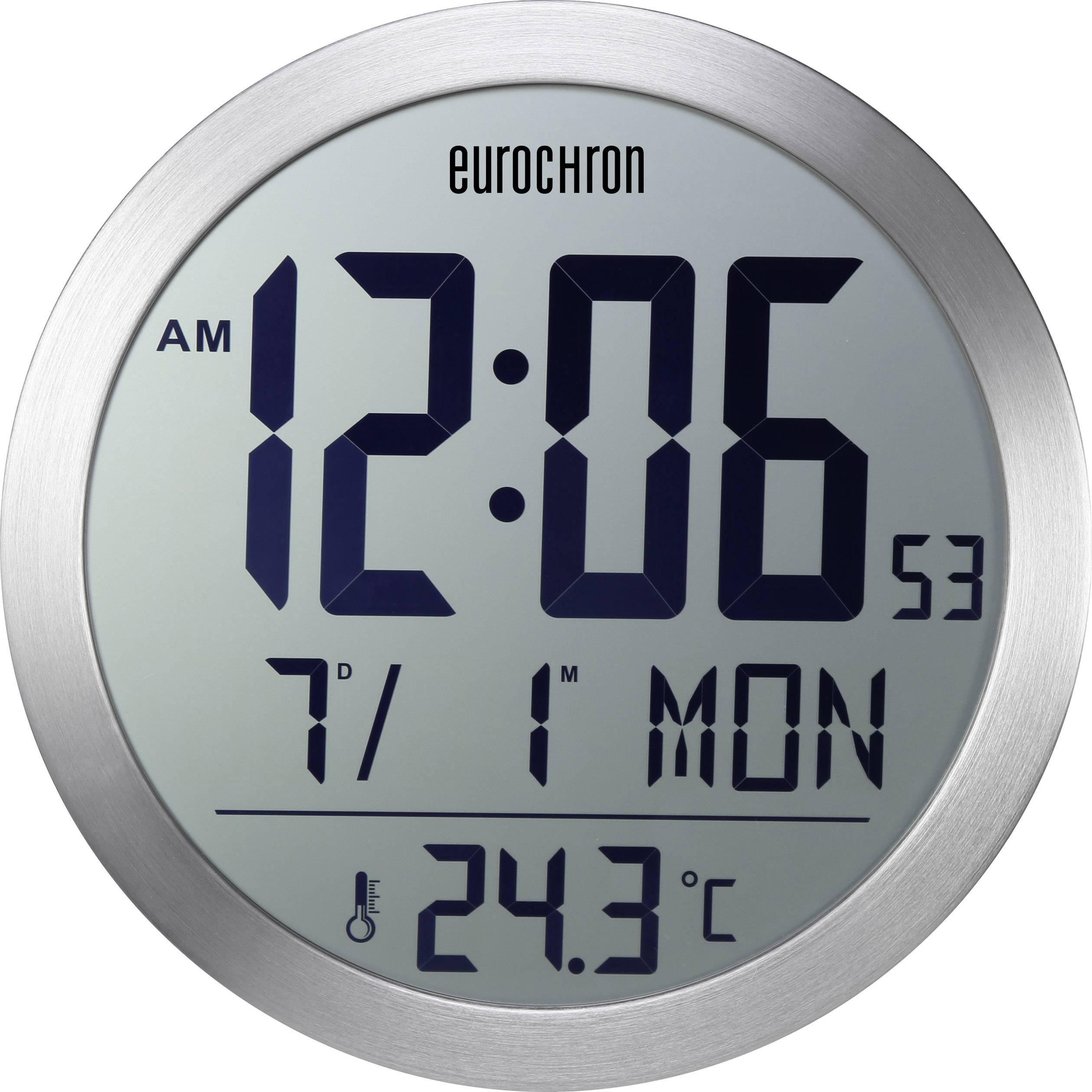 DCF nástenné hodiny Eurochron EFW 5001, Vonkajší Ø 394 mm, strieborná