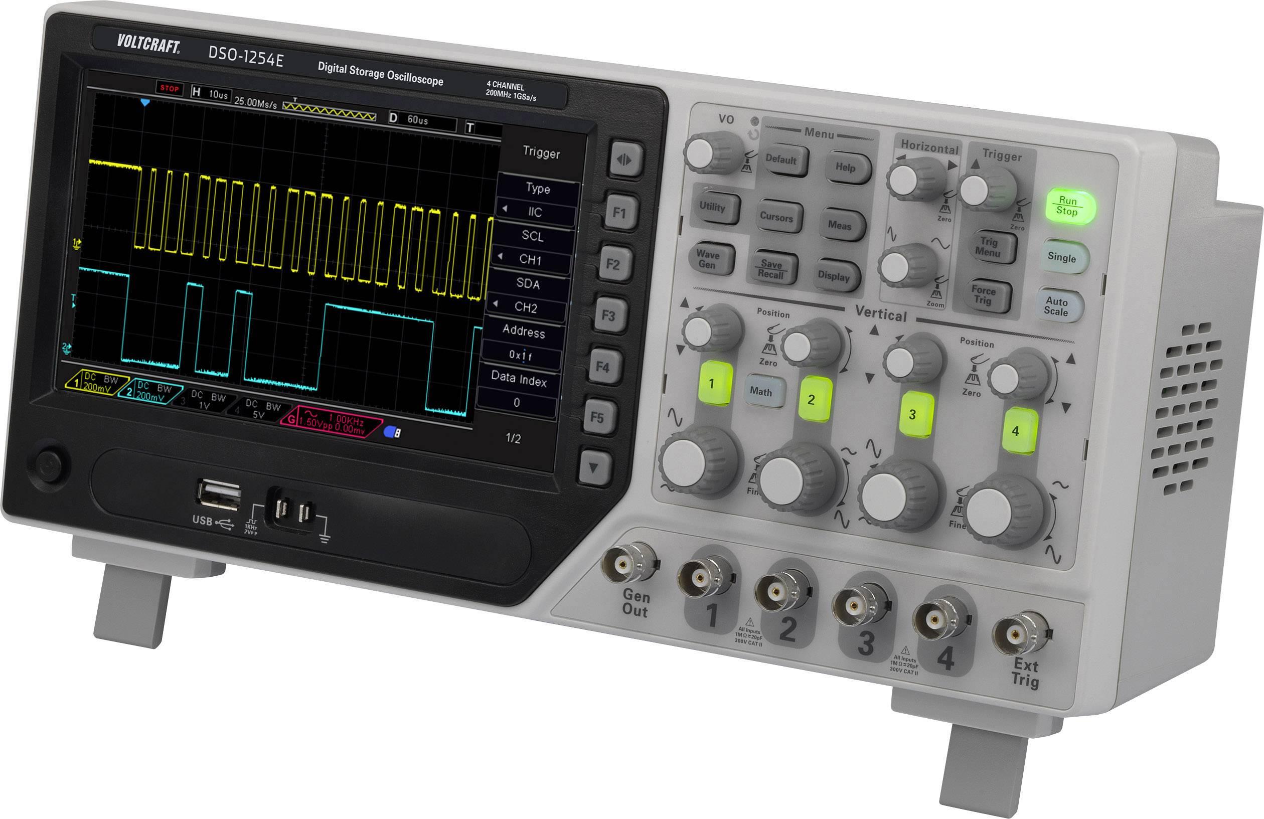 Digitální osciloskop VOLTCRAFT DSO-1204F, 200 MHz, 4kanálová