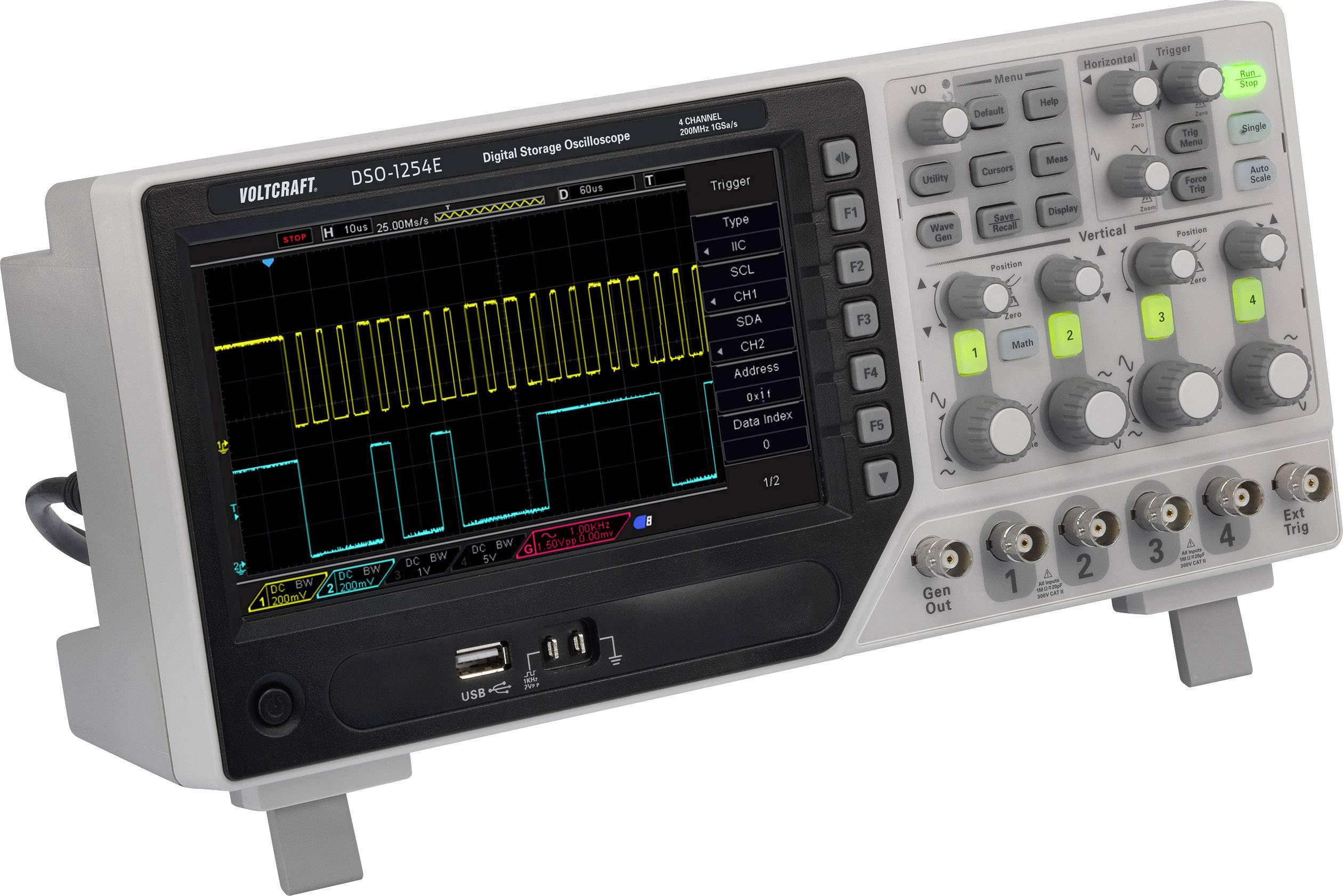 Digitální osciloskop VOLTCRAFT DSO-1204F, 200 MHz, 4kanálový