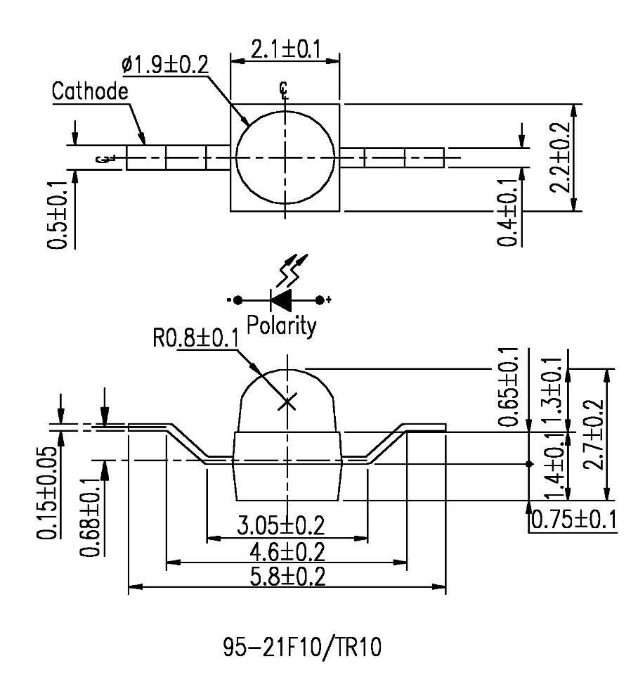 SMD LED speciální Everlight Opto, 95-21UYC/S530-A3/TR10, 20 mA, 2 V, 25 °, 714 mcd, žlutá