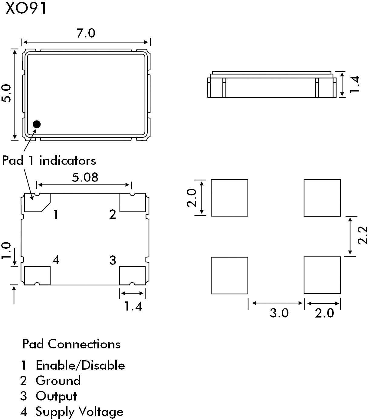 Oscilátor EuroQuartz, 14,7456 MHz, XO91050UITA