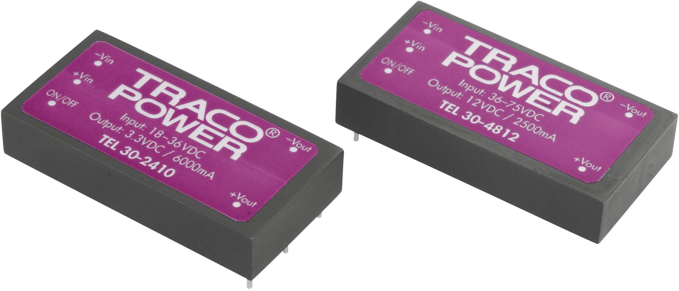 DC/DC měnič TracoPower TEL 30-4812, vstup 36 - 75 V/DC, výstup 12 V/DC, 2500 mA, 30 W