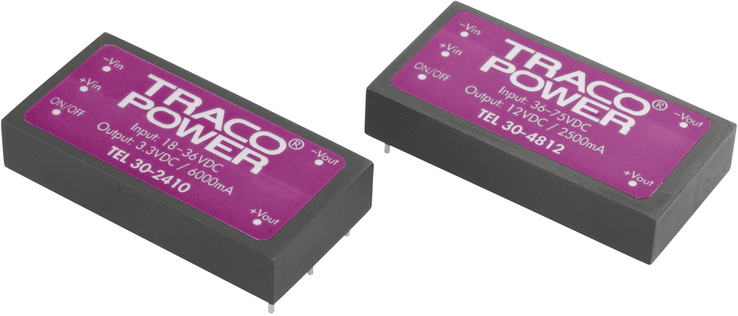 DC / DC menič napätia, DPS TracoPower TEL 30-4812, 48 V/DC, 12 V/DC, 2.5 A, 30 W