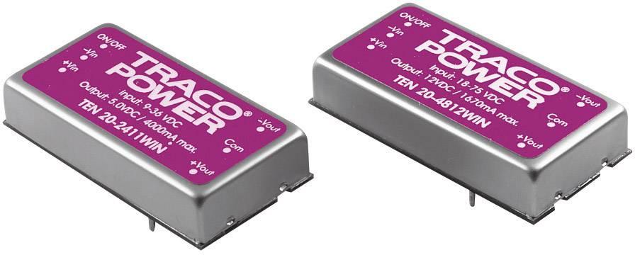 DC/DC měnič TracoPower TEN 20-2411WIN, vstup 9 - 36 V/DC, výstup 5 V/DC, 4000 mA, 20 W