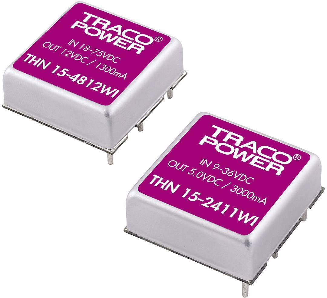 DC/DC měnič TracoPower THN 15-4812WI, vstup 18 - 75 V/DC, výstup 12 V/DC, 1,3 A, 15 W