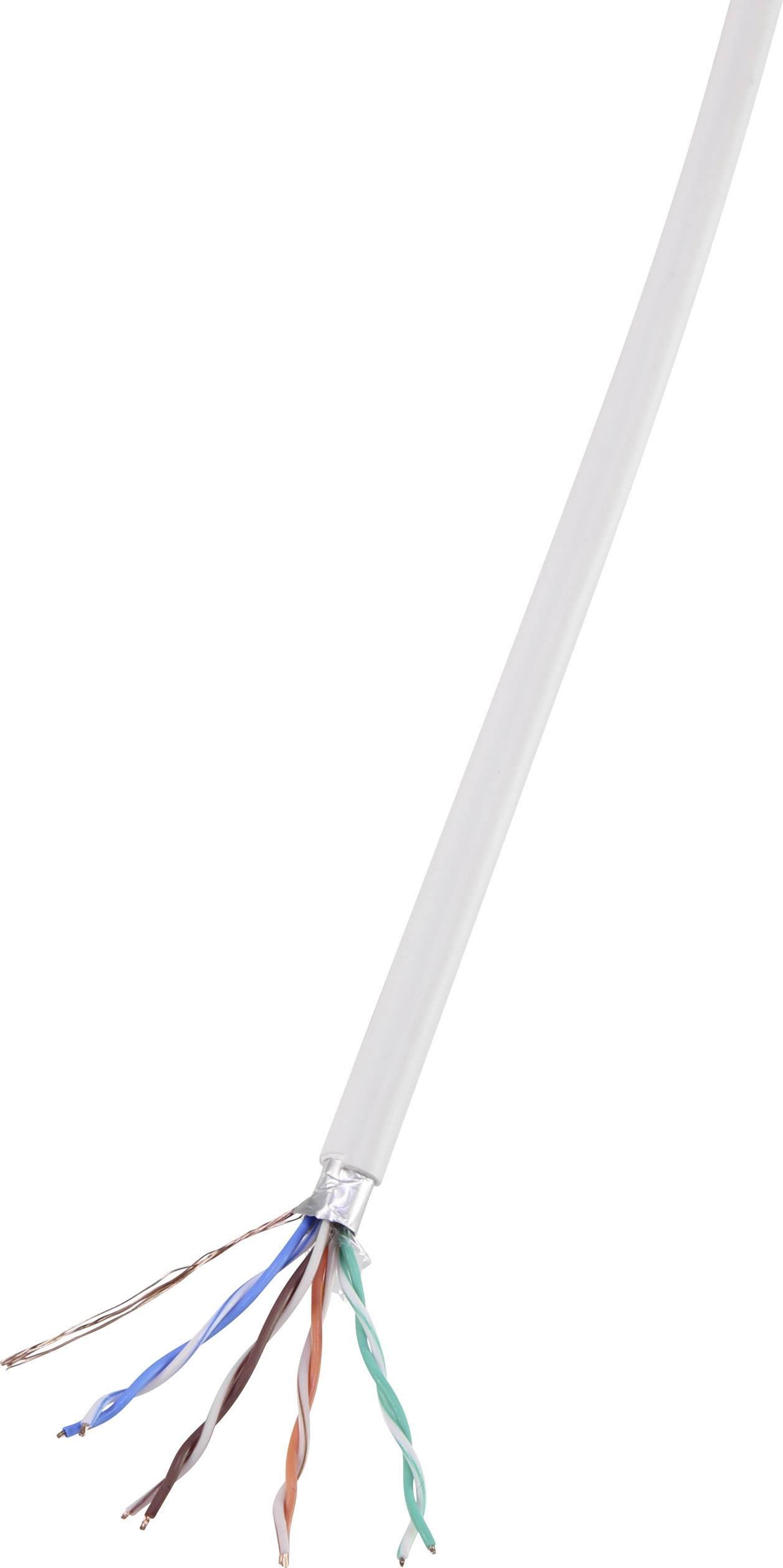 Ethernetový síťový kabel CAT 5e TRU COMPONENTS CAT 5e/CCA, F/UTP, 4 x 2 x 0.14 mm², bílá, 305 m