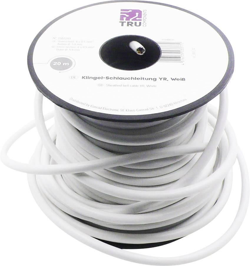 Zvonkový kabel TRU COMPONENTS YR-DR, 6 x 0.50 mm², bílá, 20 m