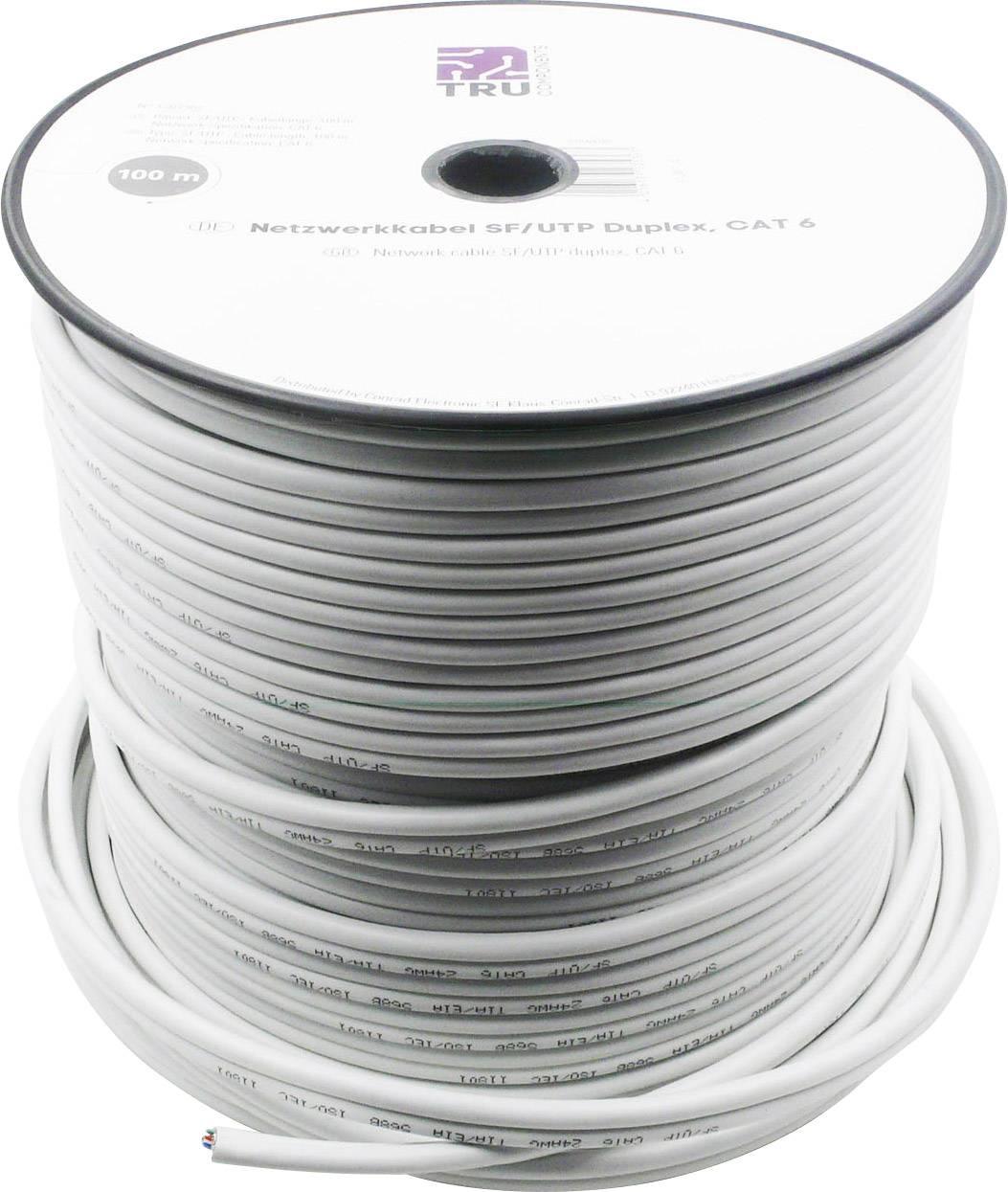 Ethernetový síťový kabel CAT 6 TRU COMPONENTS CAT 5e/CCA, SF/UTP, 8 x 2 x 0.196 mm², bílá, 100 m