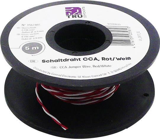 Spojovací drôt TRU COMPONENTS SH1998C497, 2 x 0.20 mm², červená, biela, 5 m