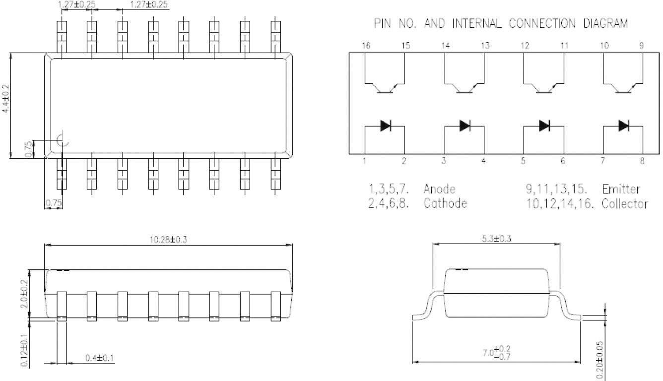 Optočlen - fototranzistor Isocom Components IS281-4 SOIC-16