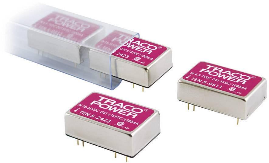 DC/DC měnič TracoPower TEN 5-0512, vstup 4,5 - 7 V/DC, výstup 12 V/DC, 500 mA, 6 W
