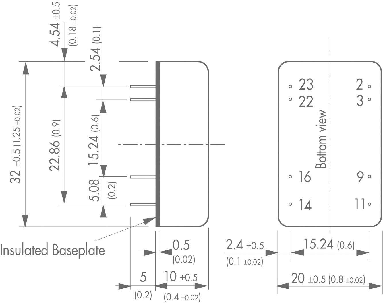 DC/DC měnič TracoPower TEN 5-2422, vstup 18 - 36 V/DC, výstup ±12 V/DC, ±250 mA, 6 W