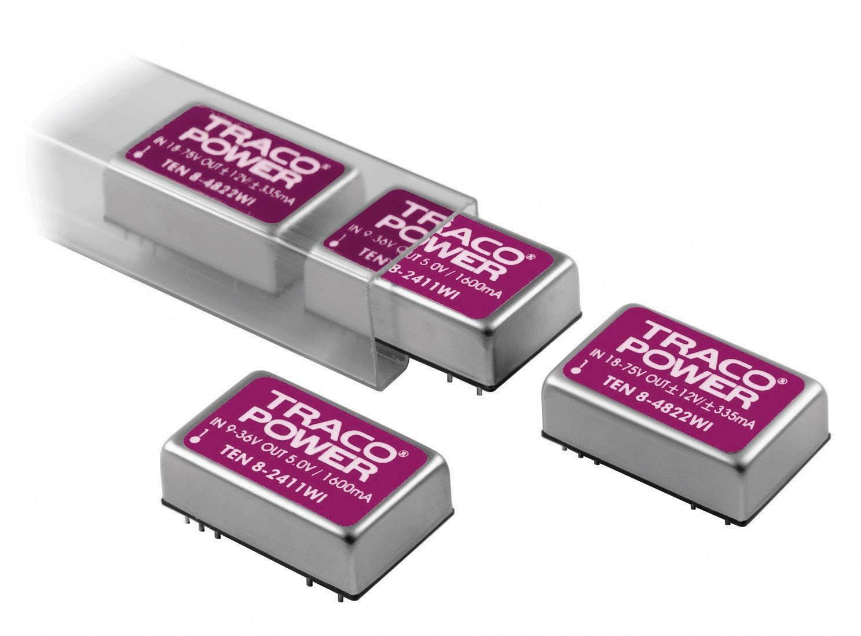 DC/DC měnič TracoPower TEN 8-2421WI, vstup 9 - 36 V/DC, výstup ±5 V/DC, ±800 mA, 8 W