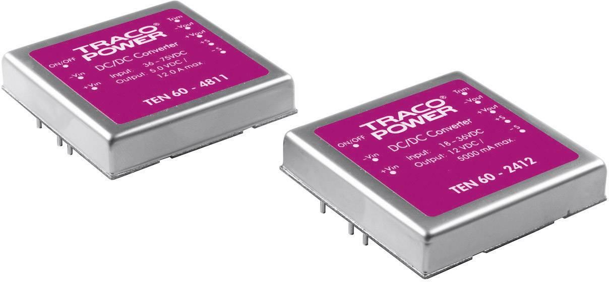 DC/DC měnič TracoPower TEN 60-2412, vstup 18 - 36 V/DC, výstup 12 V/DC, 5 A, 60 W