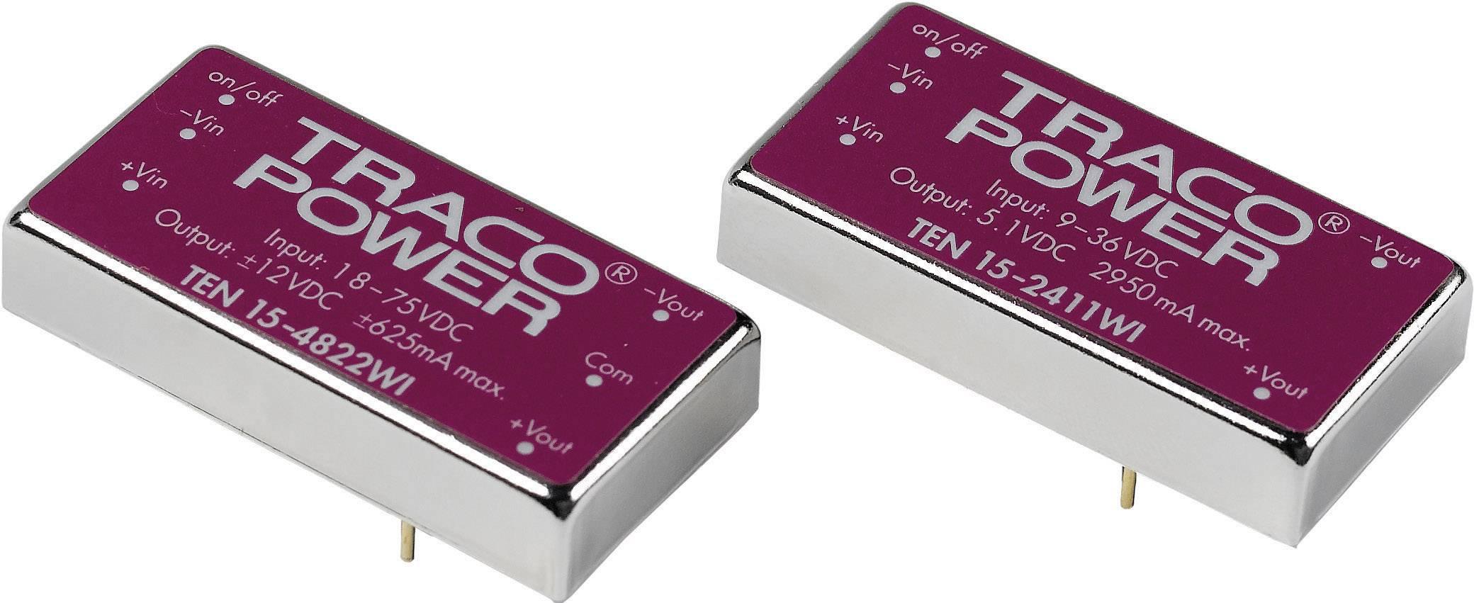 DC/DC měnič TracoPower TEN 15-2422WI, vstup 9 - 36 V/DC, výstup ±12 V/DC, ±625 mA, 15 W