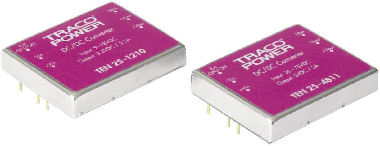 DC/DC měnič TracoPower TEN 25-1222, vstup 9 - 18 V/DC, výstup ±12 V/DC, ±1250 mA, 30 W